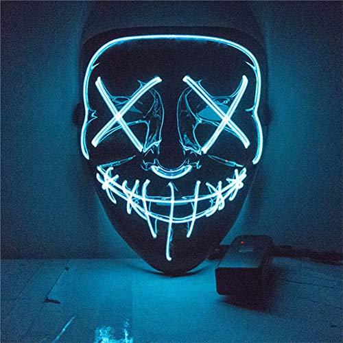 WEIZHUANGZHE Halloween LED Mask Purge Masks Election Mascara Costume DJ Party Light Up Masks Glow in Dark 10 Colors to Choose,8style -