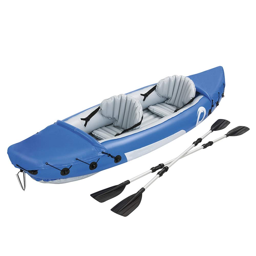 Durability Inflatable Kayaks Durable Outdoor Kayak Assault Boat Inflatable Fishing Boat Thickened Dinghy Rubber Boat (Color : Blue, Size : 321x88cm) by BoeWan