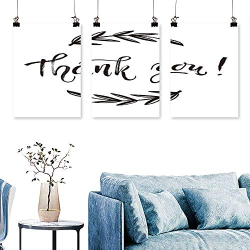 SCOCICI1588 3-Piece Modern th k You car th ks Isolate Drawn Letter Doodle Wreath Printable Art Home Decor No Frame 16 INCH X 24 INCH X 3PCS ()