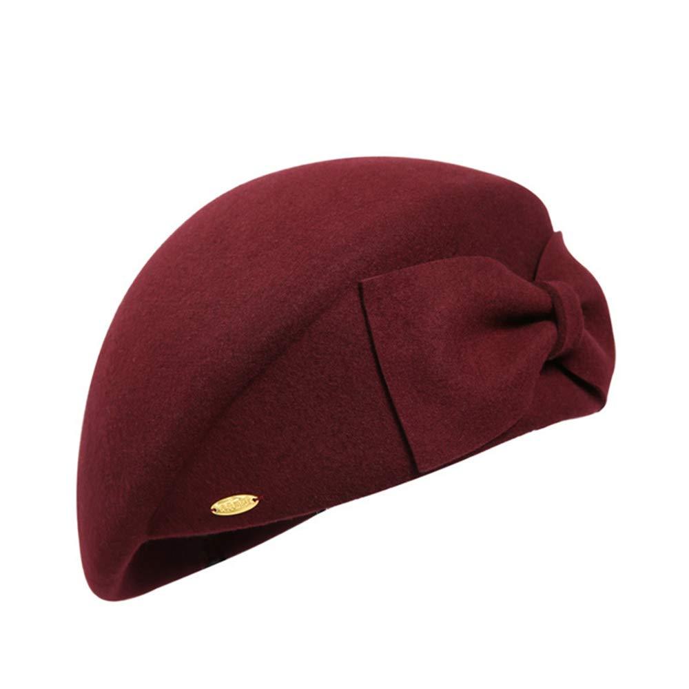 Sdcvopl Elegant Beret Women's Bow Decoration Beret Painter Hat Casual Winter Hat Vintage (Color : Dark red)