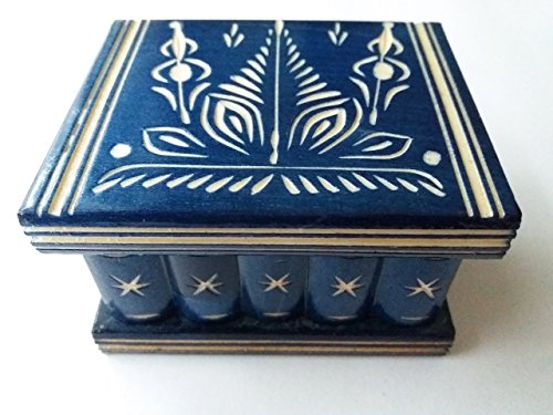 New cute handmade blue wooden secret magic puzzle jewelry ring holder box gift toy for kids storage box