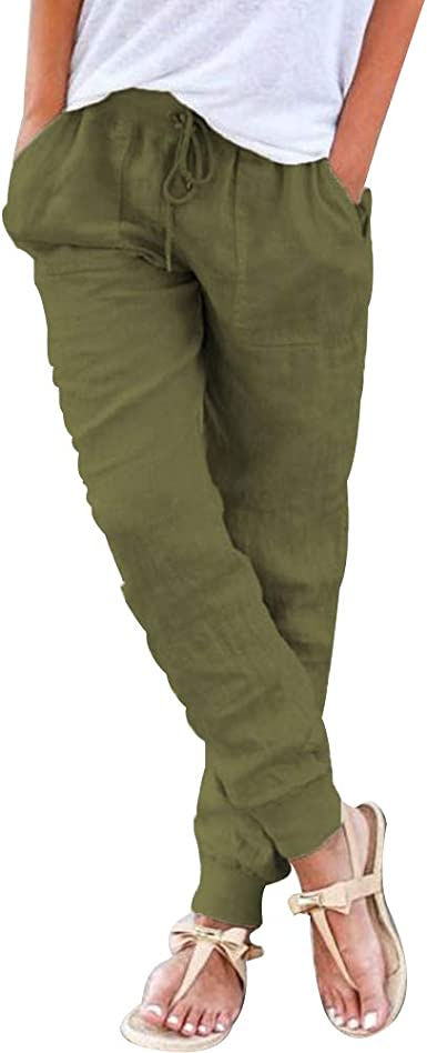 Puimentiua Pantalones Chándal para Mujer Pantalones Lápiz ...
