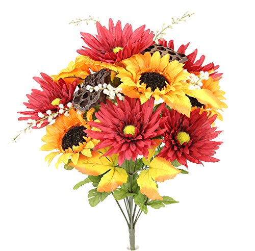 Admired By Nature GPB6409-OR/BG 14 Stems Artificial Sunflower, Gerbera Daisy And Lotus Root Mixed Flowers Bush For Home Office, Wedding, Restaurant Decoration Arrangement, (Gerbera Daisy Bush)