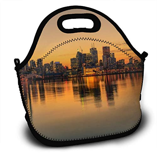 Dejup Lunch Bag Toronto of Sunset Tote Reusable Insulated Lunchbox, Shoulder Strap with Zipper for Kids, Boys, Girls, Women and Men ()