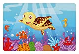 Ambesonne Turtle Pet Mat for Food and Water, Funny Adorable Cartoon Style Underwater Sea Animals Baby Turtle and Fish Collection, Rectangle Non-Slip Rubber Mat for Dogs and Cats, Multicolor