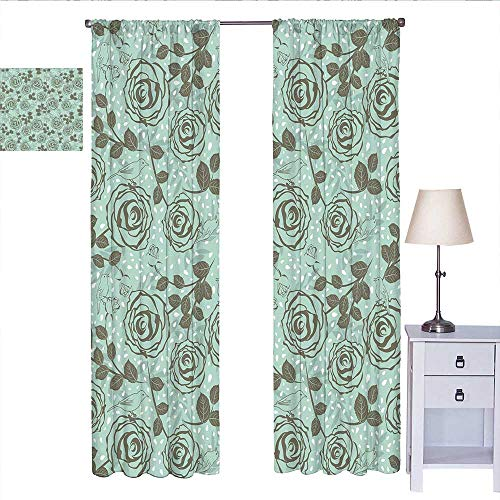Floral Room Darkening Curtains for Bedroom Romantic Season Inspirations with Roses Birds on Tree Branches Summer Design Wall Curtain Seafoam Sage Green W72 x L96