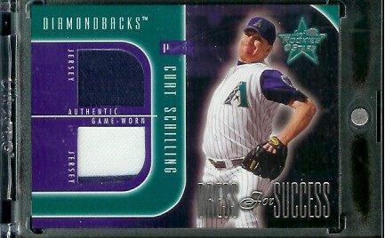 2002 Leaf Rookies & Stars Dress for Success Curt Schilling Game Worn Jerseys #ed/250 Arizona Diamondbacks Baseball Card - Mint Condition - In Protective Screwdown Case!