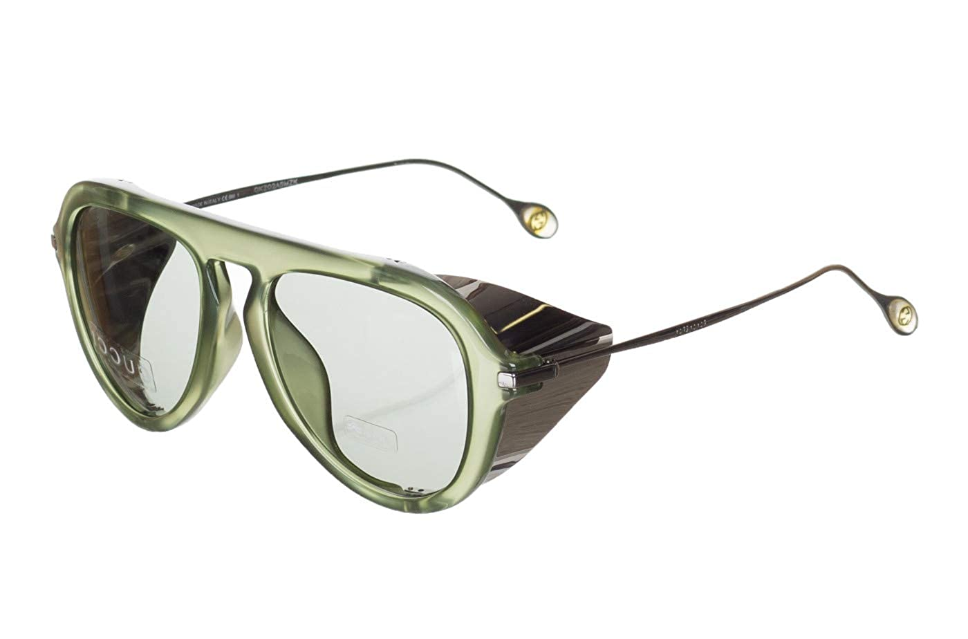 8d6ac7a83ec8 Amazon.com: Gucci GG Green 3737/S Gray Lens Side Shield Sunglasses: Clothing