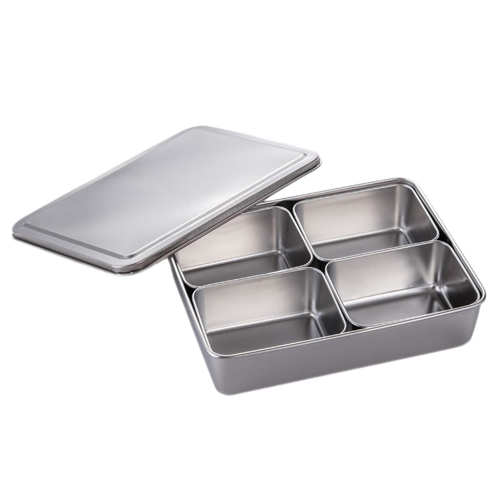 Prettyia Stainless Steel Seasoning Box Japanese Style Flavour Container Spice Rack - 4 Grid