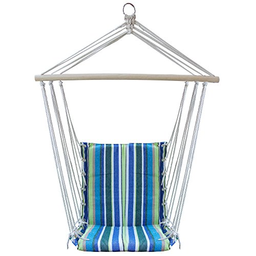 ReLIVE Rope Hanging Hammock Chair Swing with Cushions and Carrying Bag (Lime Green/Black/Blue) (Sunroom Chairs)