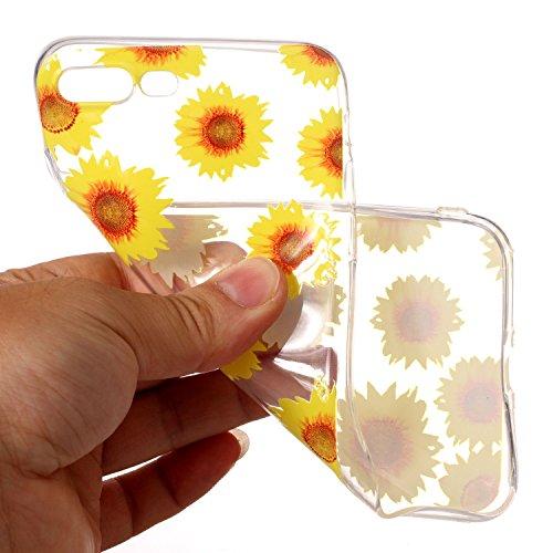 iPhone 7 Plus Coque chrysanthème Premium Gel TPU Souple Silicone Transparent Clair Bumper Protection Housse Arrière Étui Pour Apple iPhone 7 Plus + Deux cadeau