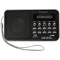 Timorn FM Radio Mini Portable MP3 Music Player with USB Rechargeable Supports TF / SD Card (Black)