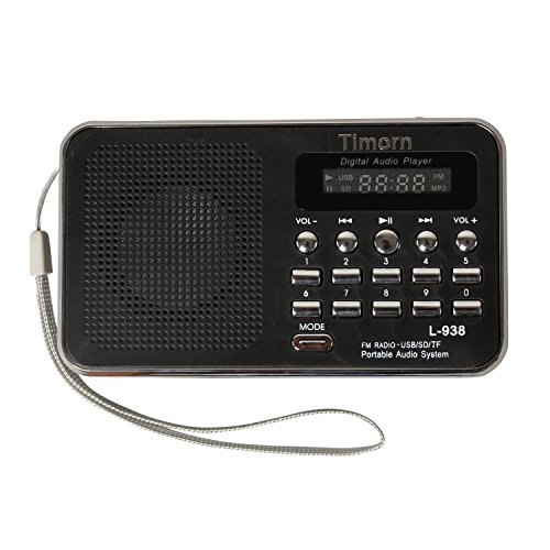 Timorn FM Radio Mini Portable MP3 Music Player with USB Rechargeable Supports TF / SD Card (Mini Fm Scanner Radio)
