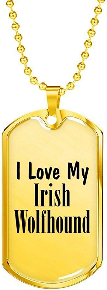 Unique Gifts Store Love My Irish Wolfhound 18k Gold Finished Luxury Dog Tag Necklace Mom Dad Lover Owner