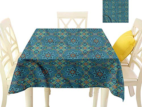 - WilliamsDecor Dining Table Cover Tribal,Colorful Blooming Flora Table Cover W 50
