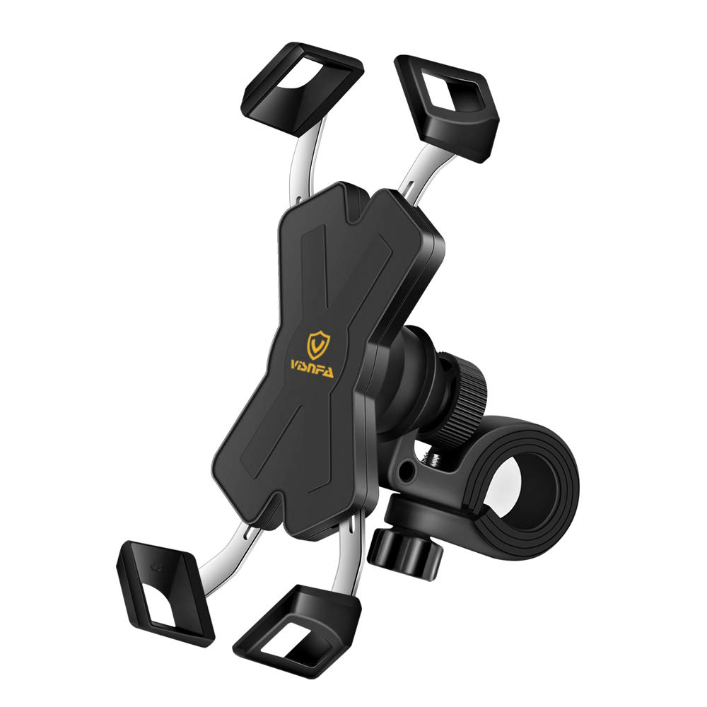 visnfa New Bike Phone Mount with Stainless Steel Clamp Arms Anti Shake and Stable 360° Rotation Bike Accessories/Bike Phone Holder for Any Smartphones GPS Other Devices Between 4 and 7 inches