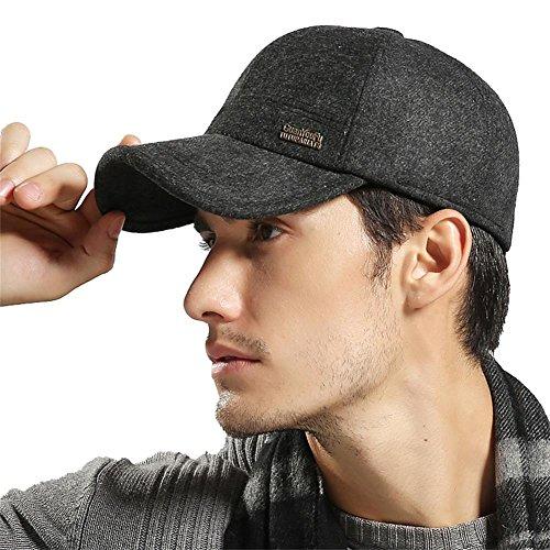 YAKER Men's Winter Warm Woolen Peaked Baseball Cap Hat Earmuffs Metal Buckle (Black) by YAKER (Image #6)