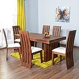 UrbanWood Sheesham Wood Wooden Dining Set 6 Seater | Dining Table with 4 Chairs & 1 Bench | 2 Drawer Storage | Teak Brown Finish