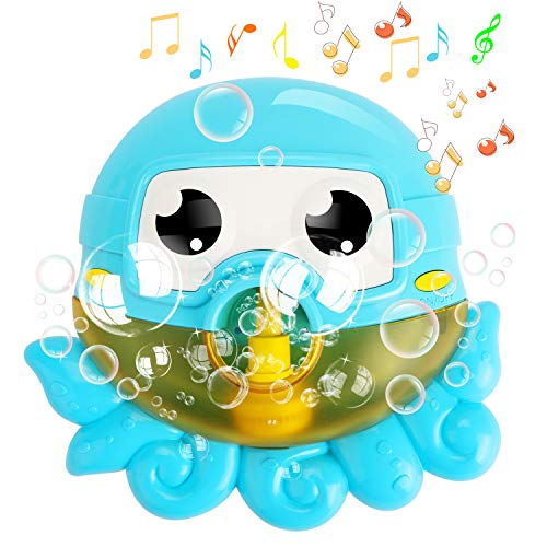 Tencoz Bubble Machine, Baby Bath Bubble Octopus Musical Toys Blower Bubble Maker with Nursery Rhyme Bathtub Bubble Toys for Baby Happy Tub Time (Blue)