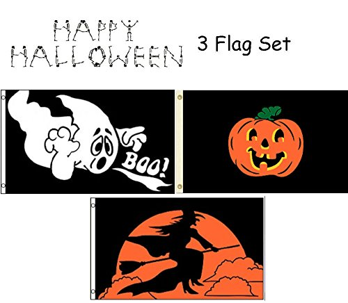 ALBATROS 3 ft x 5 ft Happy Halloween 3 Flag Set #3 House Banner Grommets for Home and Parades, Official Party, All Weather Indoors Outdoors ()