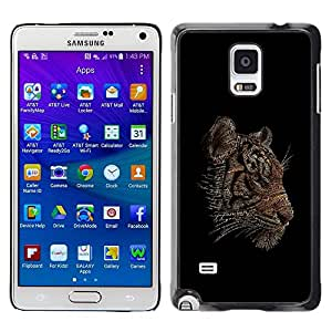 LECELL -- Funda protectora / Cubierta / Piel For Samsung Galaxy Note 4 SM-N910F SM-N910K SM-N910C SM-N910W8 SM-N910U SM-N910 -- Cool Word Art Tiger Typography --