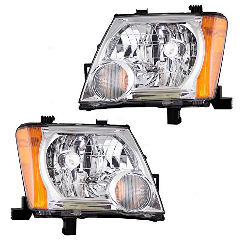 (Halogen Combination Headlamps Headlights w/Chrome Bezels Pair Set Replacement for 05-15 Nissan Xterra 26060EA025 26010EA025)