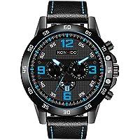 [Patrocinado] Reloj de pulsera analógico para hombre, movimiento de cuarzo, correa de piel, calendario, fecha, ventana, hombre, resistente al agua, relojes militares casuales, deportivos