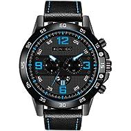 [Sponsored]Men's Wrist Watch Analog Quartz Movement Watch Leather Band Calendar Date Window Male...