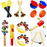 LUCKSTAR Kids Musical Instruments 10 Pieces Rhythm Band Set For Children Toddlers Percussion Toy