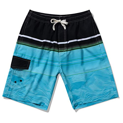 LTIFONE Men's Swim Trunks Quick Dry Beach Board Shorts Drawstring Lightweight with Elastic Waist and Pockets(Wave Blue,M