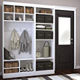 Bestar Furniture 26873-17 Pur 86'' Mudroom Kit with 20 Open Storage Sections and Bench in