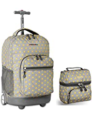 J World New York Sunrise Rolling Backpack & Corey Lunch bag Set (Candy Buttons)
