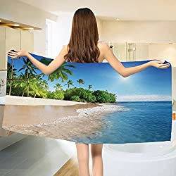 Blue Bath towel Ocean Tropical Palm Trees on Sunny Island Beach Scene Panoramic View Picture Cotton Beach Towel Blue Green and White (55x28)