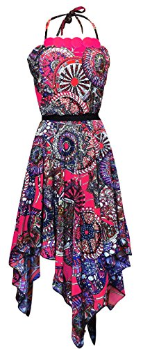 Peach Couture Women's Handkerchief Multicolor Loose Fit Top Boho Dress (Medium, Fuchsia)