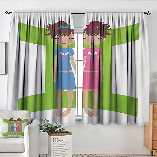 - All of better Zodiac Gemini Window Curtain Drape Green Sign Background with Twin Girl Cartoon Characters for Teens and Kids Drapes for Living Room 55