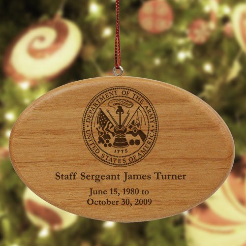 """GiftsForYouNow Engraved U.S. Army Memorial Ornament, Wood, 4"""" x 2.5"""" by GiftsForYouNow"""