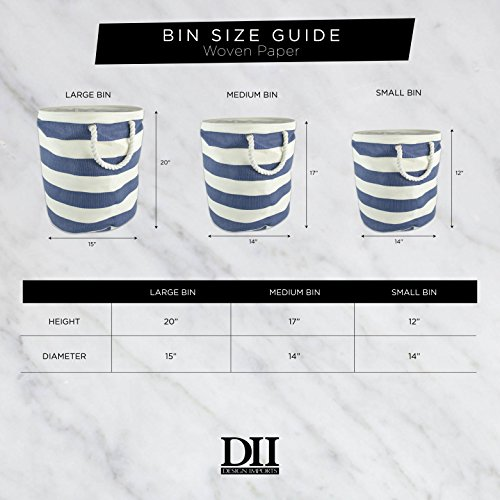"""DII Woven Paper Basket or Bin, Collapsible & Convenient Home Organization Solution for Bedroom, Bathroom, Dorm or Laundry(Medium Round - 14x17""""), Black & White Diamond Basketweave by DII (Image #7)"""