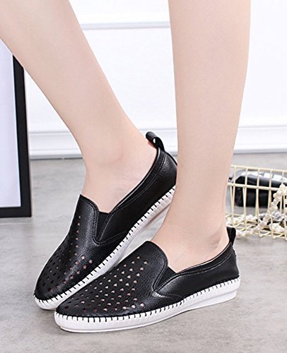 Sneakers Slip Aisun Femme Etoiles Plates Confortable Noir Loafers On rww0EqAxZ