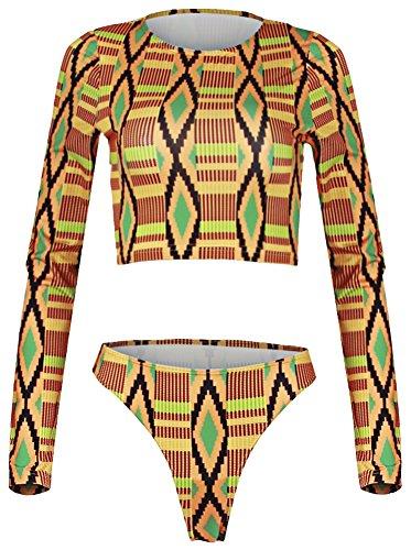QZUnique Women's African Kente Printed Cropped Top High Waist 2PCS Swimsuit by QZUnique