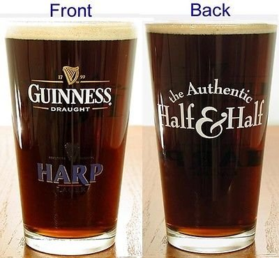 Guinness Harp The Authentic Half & Half Signature Beer Pint Glass