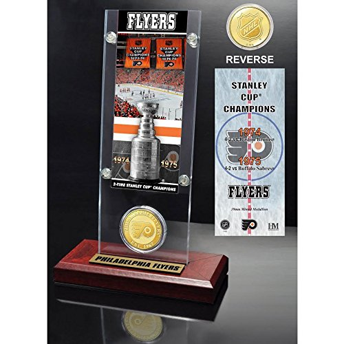 The Highland Mint Philadelphia Flyers 2X Stanley Cup Champions Ticket and Bronze Coin Acrylic Display