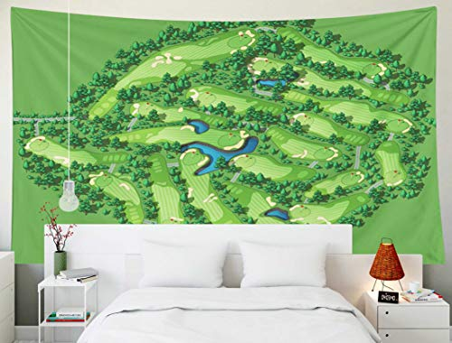 Sertiony Map Tapestry Wall Hanging, Art Home Décor 80x60 Inches Golf Course Map Resort Layout Flags Trees Plants Water Isometric for Bedroom Colorful Big Tapestries