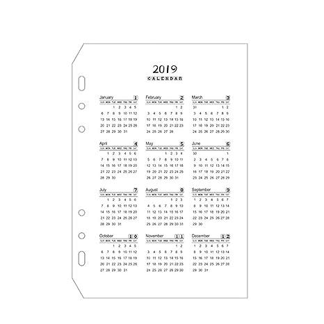 Amazon.com: Calendario 2019 - Cuaderno de hojas sueltas con ...