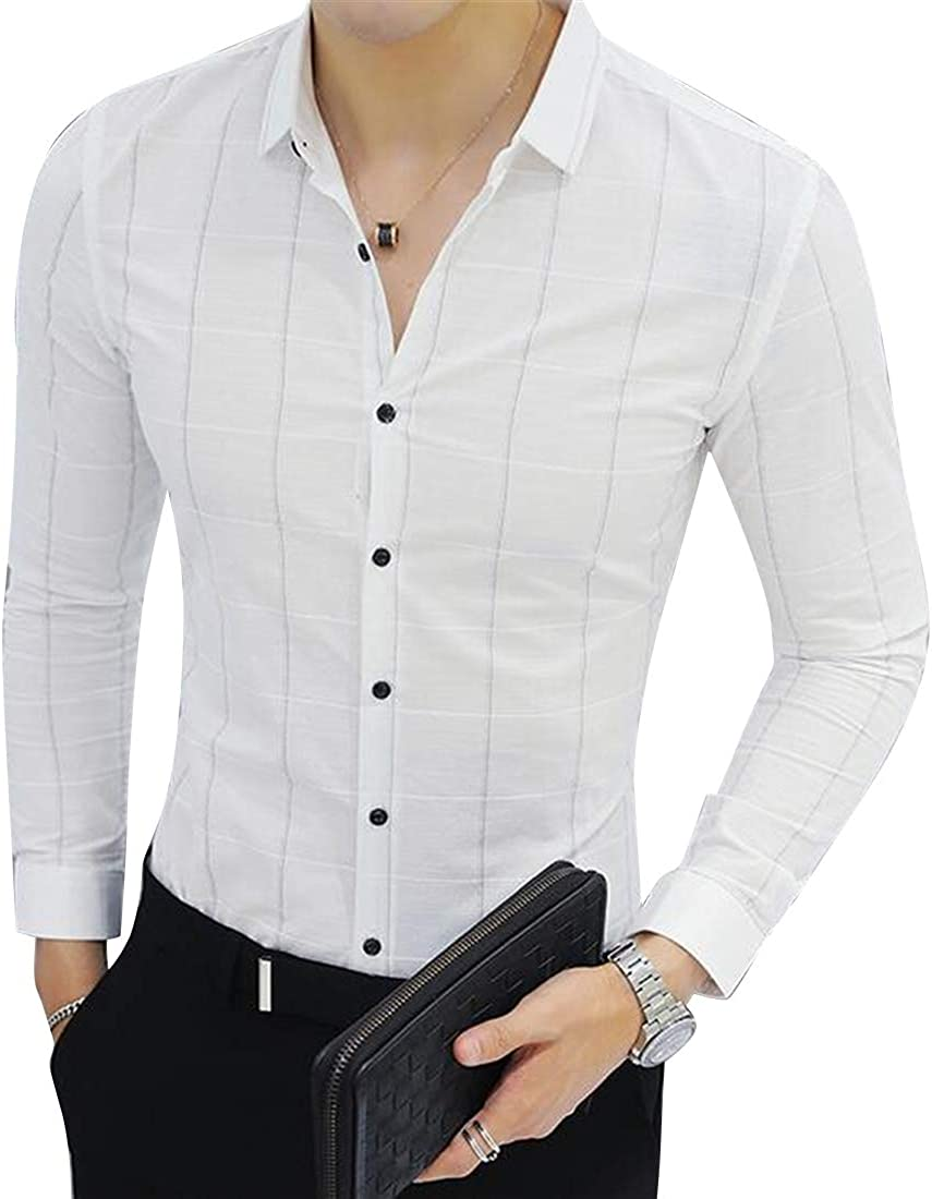 Fubotevic Mens Tartan Work Office Button Down Long Sleeve Button Up Dress Work Shirt