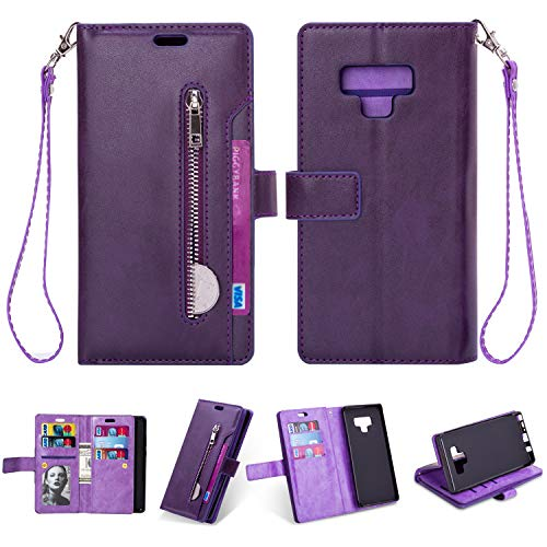 Samsung Note 9 Case,Galaxy Note 9 Wallet Case,FLYEE 10 Card Slots Premium Flip Wallet Leather Magnetic Case Purse with Zipper Coin Credit Card Holder Cover for Samsung Galaxy Note 9 Purple