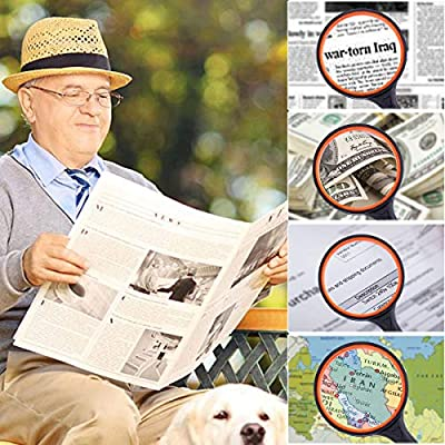 Shatterproof Magnifying Glass 20X Handheld Magnifier Loupe for Reading 100MM Large Magnifying Lens with Non-Slip Soft Handle for Jewelers Book Newspaper Insect Classroom Science Kids Toys: Office Products
