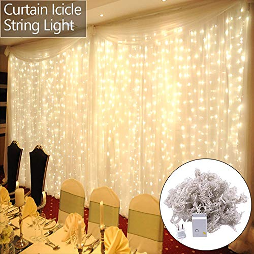 onEveryBaby 6M x 3M 600-LED Warm White Light Romantic Christmas Wedding Outdoor Decoration Curtain String Light US Standard Warm White by onEveryBaby