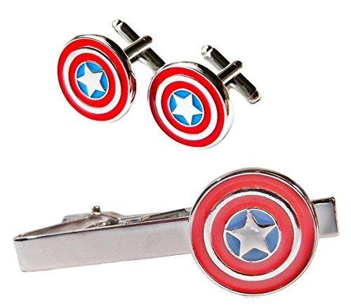 Marvel's CAPTAIN AMERICA Silvertone/Enamel TIE CLIP & CUFFLINKS SET