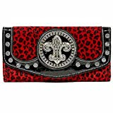 Red Cheetah Print Faux Fur Rhinestone Studded Fleur De Lis Long Wallet, Bags Central