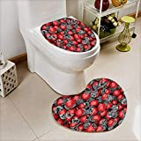 L-QN Cushion Non-Slip Toilet Mat College Football Helmets Headgear Competition Defense Sportsman Image Pattern Red High Absorbency